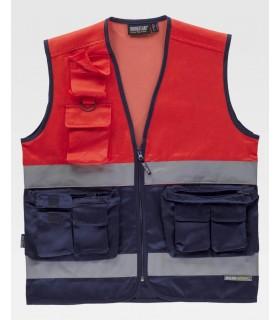 Chaleco bicolor de alta visibilidad rojo C4047 de Workteam
